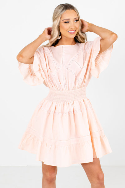 Light Pink Smocked Waistband Boutique Mini Dresses for Women