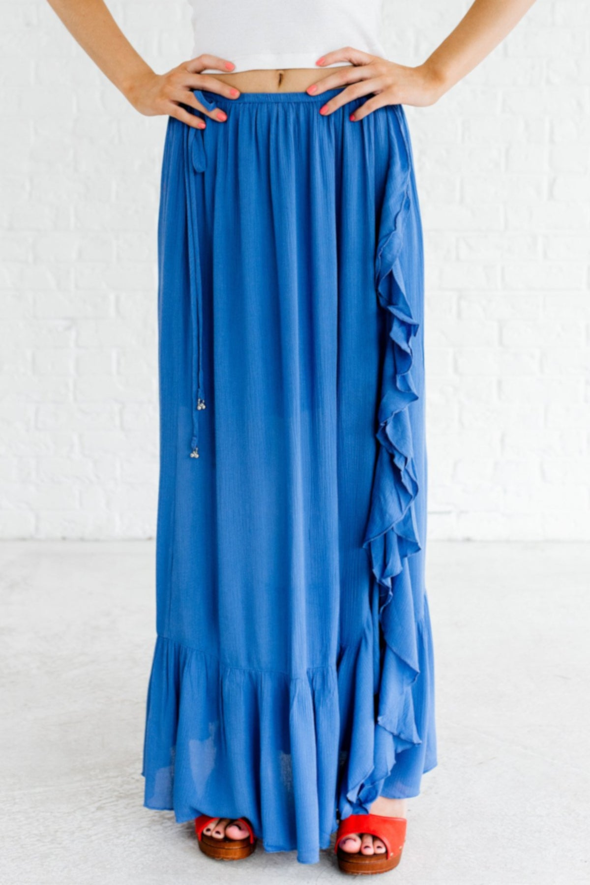 Blue Maxi Length Ruffle Detailed Boutique Skirts for Women