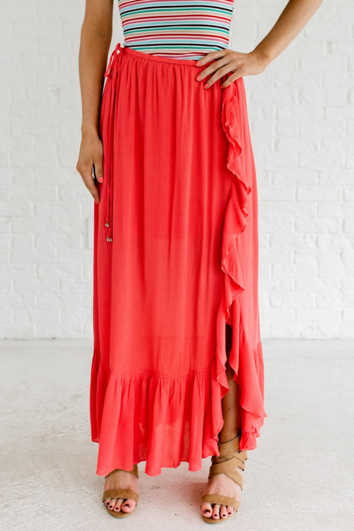 Coral Pink Ruffle Maxi Length Boutique Skirts for Women