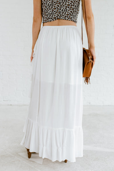 Women's White Partially Lined Boutique Long Skirt