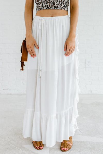 White Ruffle Detailed Boutique Maxi Skirts for Women