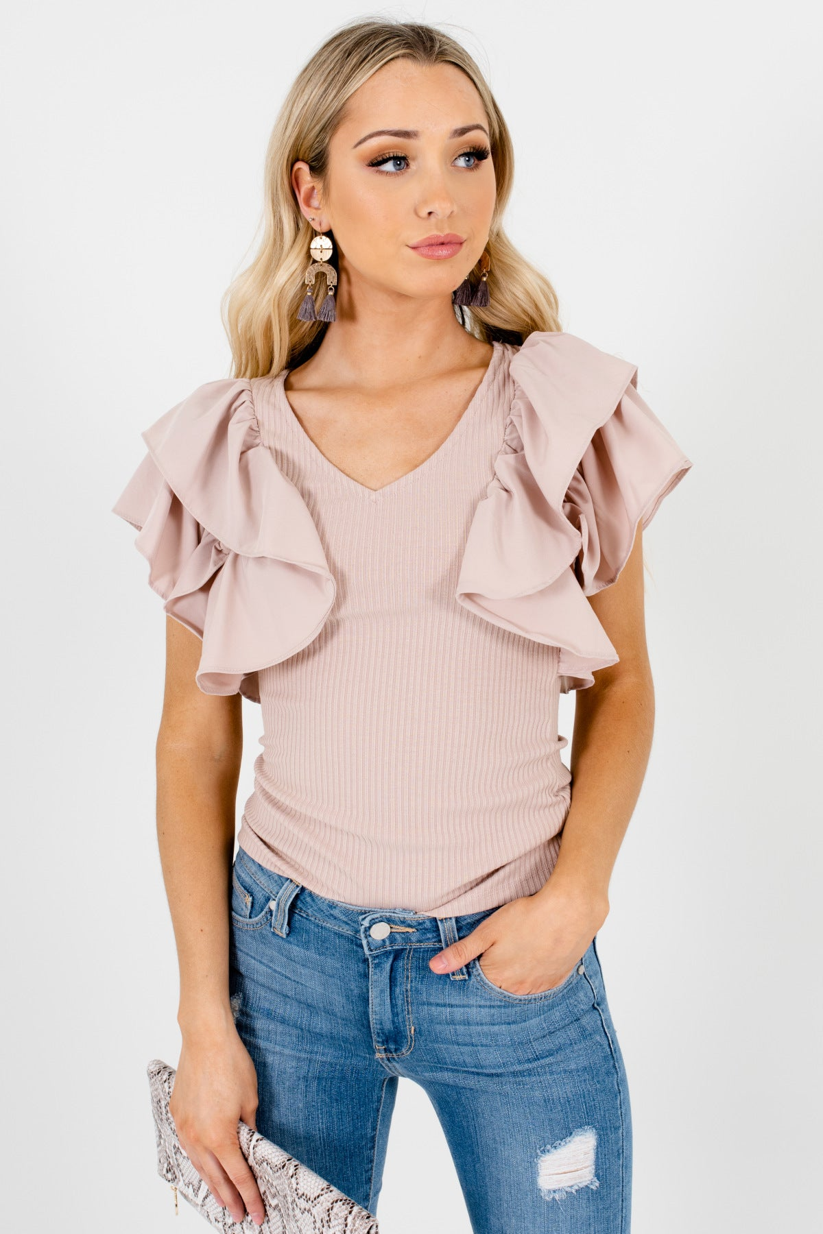 Blush Pink Tiered Ruffle Sleeve Butterfly-Sleeve Tops for Women