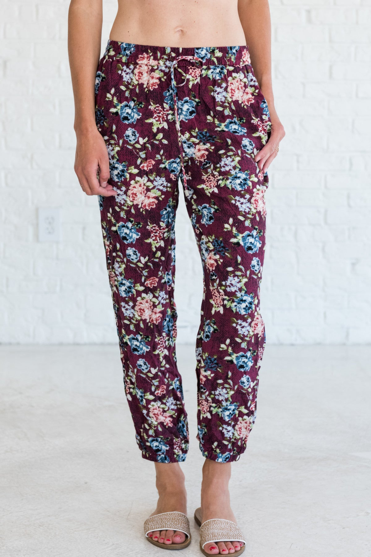 Burgundy Red Floral Boutique Joggers for Women