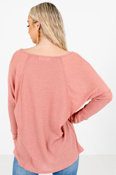 Women's Pink Long Sleeve Boutique Tops
