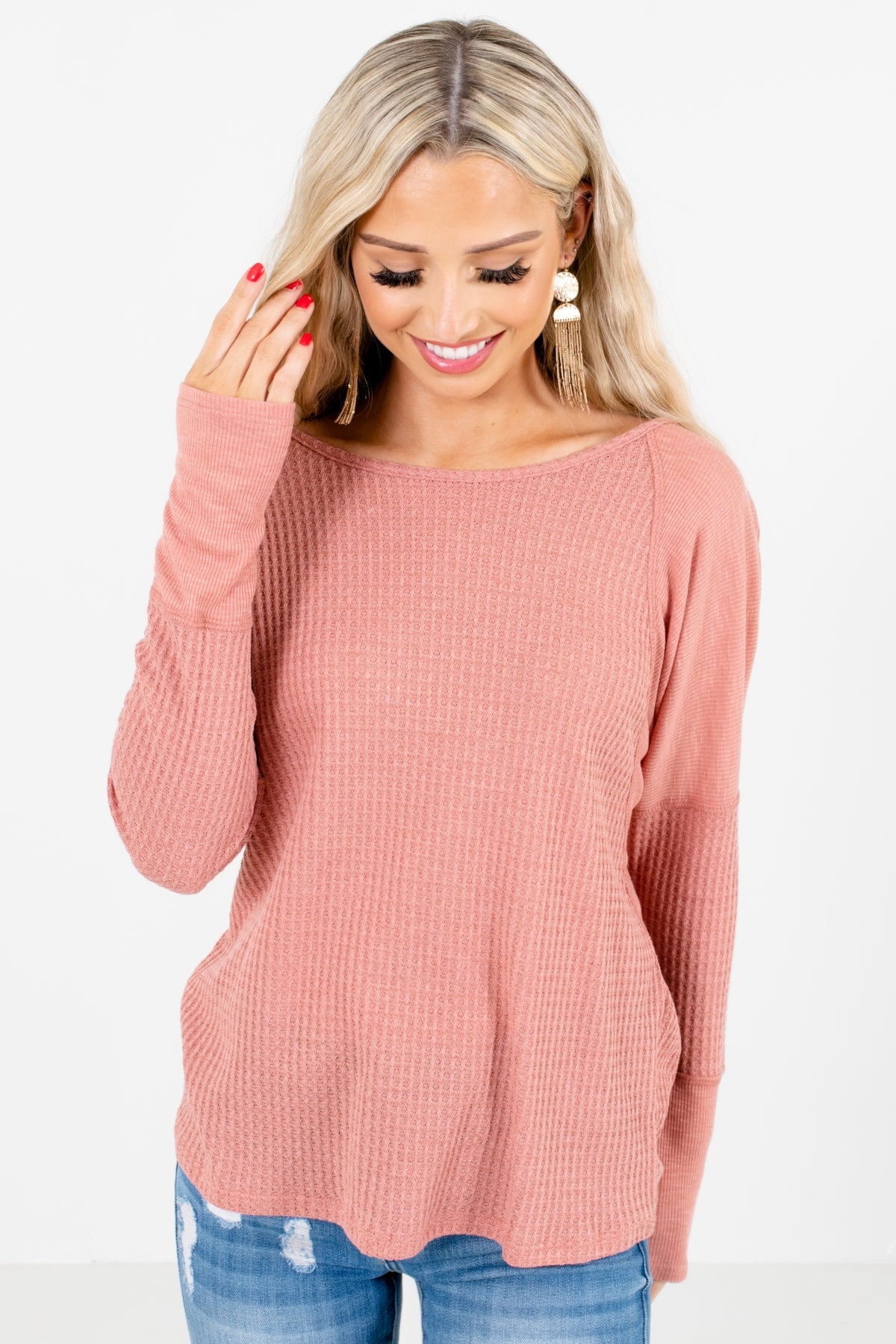 Pink High-Quality, Waffle Knit Material Boutique Tops for Women
