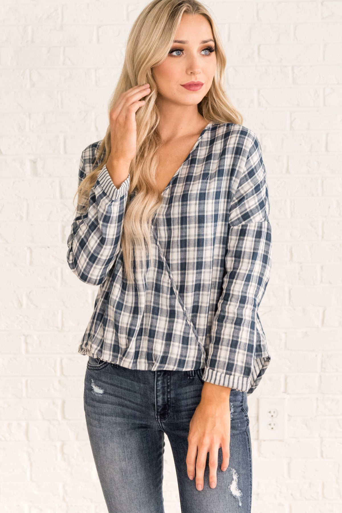 Navy Blue Nursing Friendly Snap Wrap Top Plaid Tops and Shirts