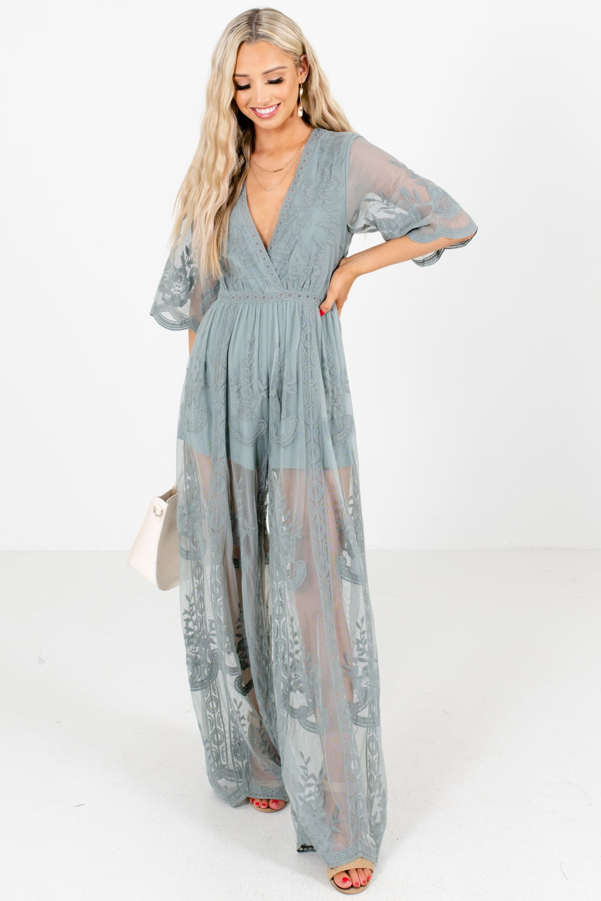 Green Lace Overlay Boutique  Jumpsuits for Women