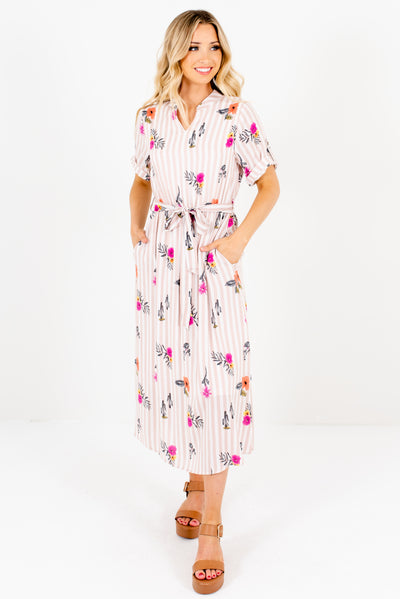 Light Pink and White Striped Multicolored Floral Cactus Print Boutique Midi Dress