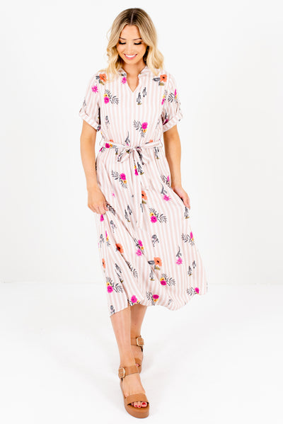 Women's Pink and White Cute and Comfortable Boutique Midi Dresses