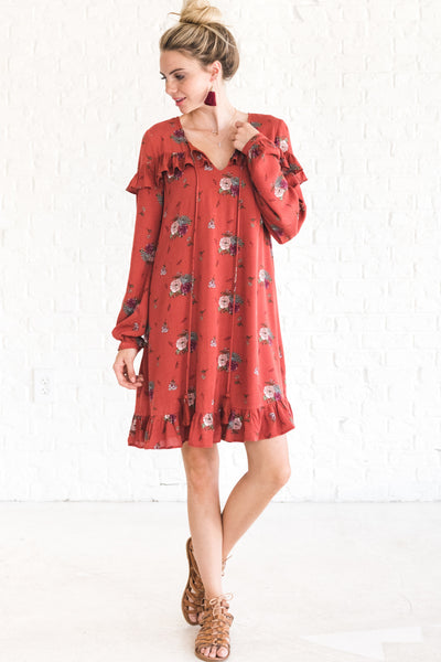 Rust Red Floral Dresses for Women