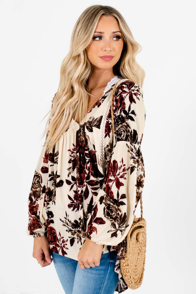 Cream Brown Burgundy Floral Print Boutique Peasant Blouses