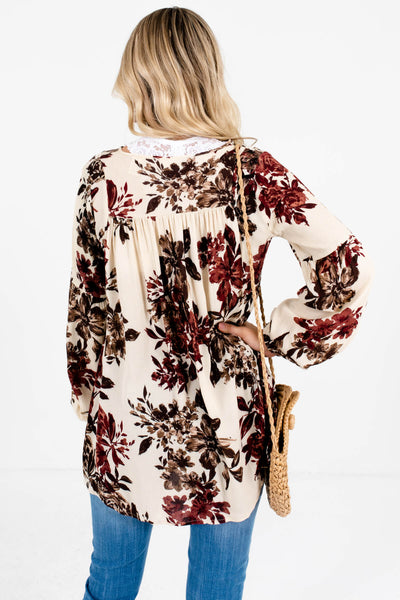 Cream Peasant Blouse with Burgundy and Brown Floral Print