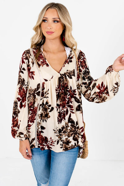 Cream Burgundy Brown Floral Peasant Blouses for Autumn