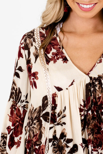 Cream Burgundy Brown Floral Print Boutique Peasant Blouses