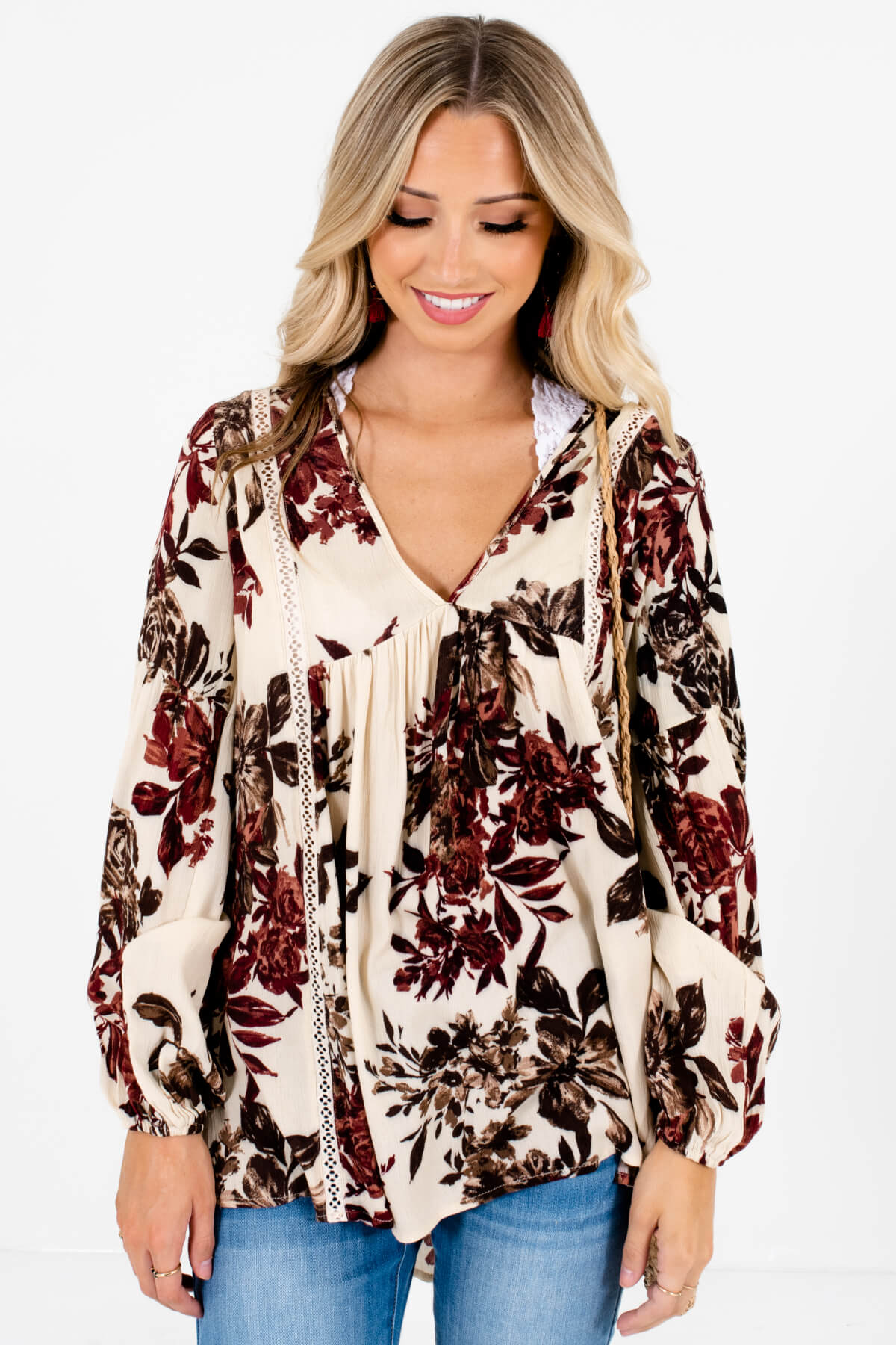 Cream Burgundy Brown Floral Print Fall Boutique Peasant Blouses