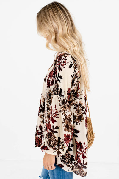 Cream Floral Print Peasant Blouses Affordable Online Boutique