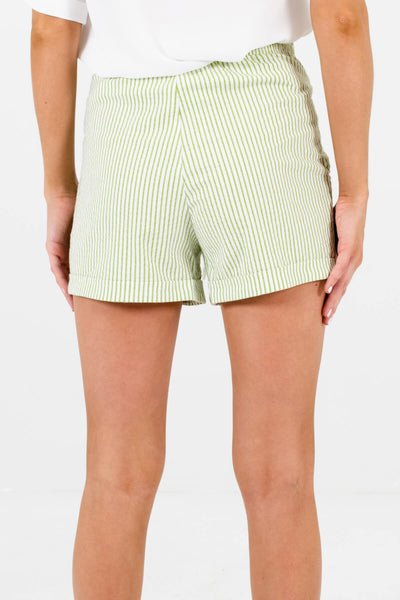 Green White Striped Womens Shorts Affordable Online Boutique