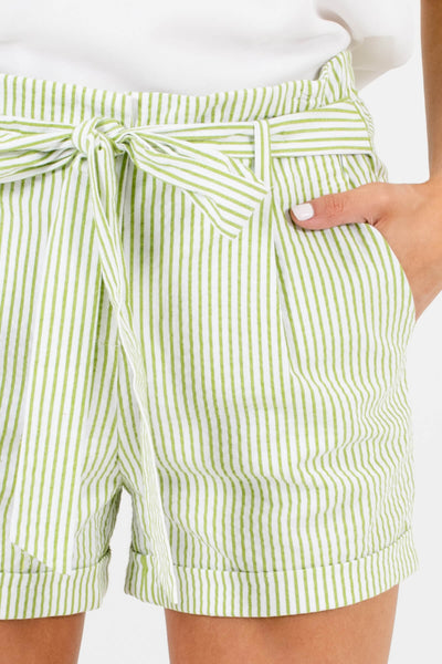 Green White Striped Shorts Affordable Online Boutique Resort Wear