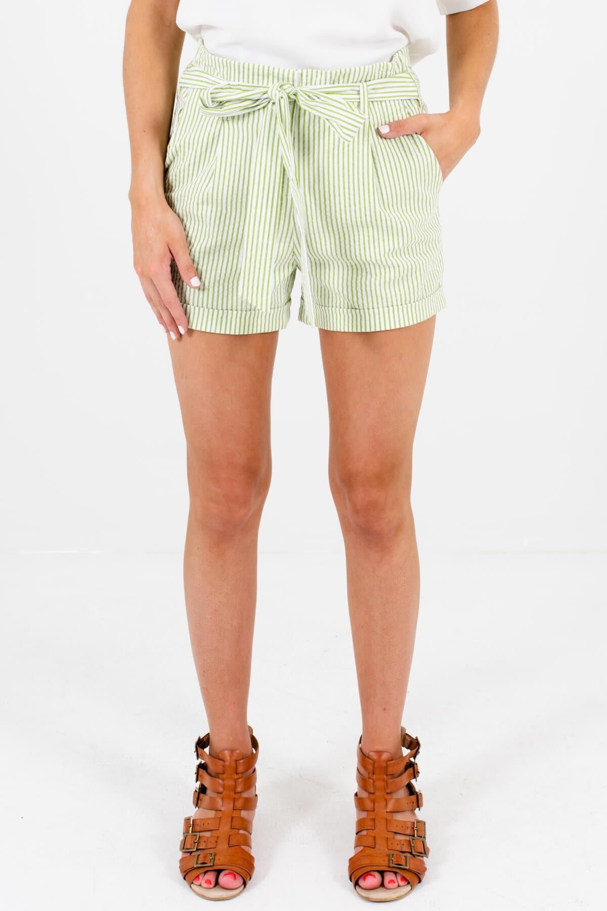 Green White Striped Shorts with Pockets and Waist-Tie Detail