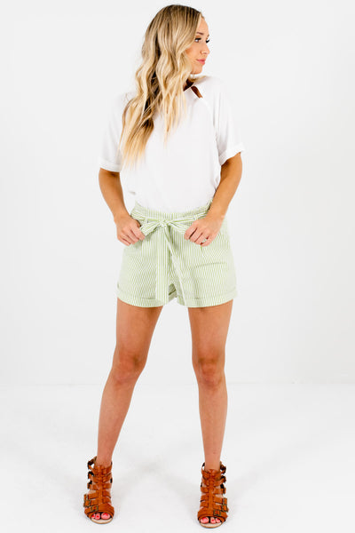 Green White Striped Womens Shorts Affordable Boutique Resort Wear