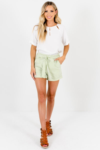 Green White Striped Womens Shorts with Pockets and Tie Detail