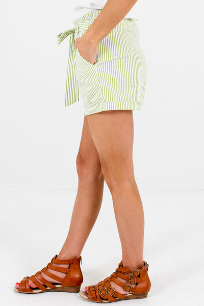 Green White Striped Shorts Affordable Online Womens Boutique