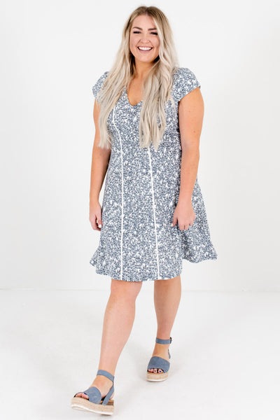 White Patterned Cute and Comfortable Boutique Plus Size Mini Dresses for Women
