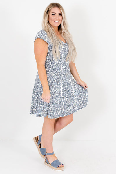 White Back Zipper Boutique Plus Size Mini Dresses for Women