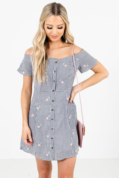 Black White Gingham Pattern Floral Embroidered Mini Dresses for Women