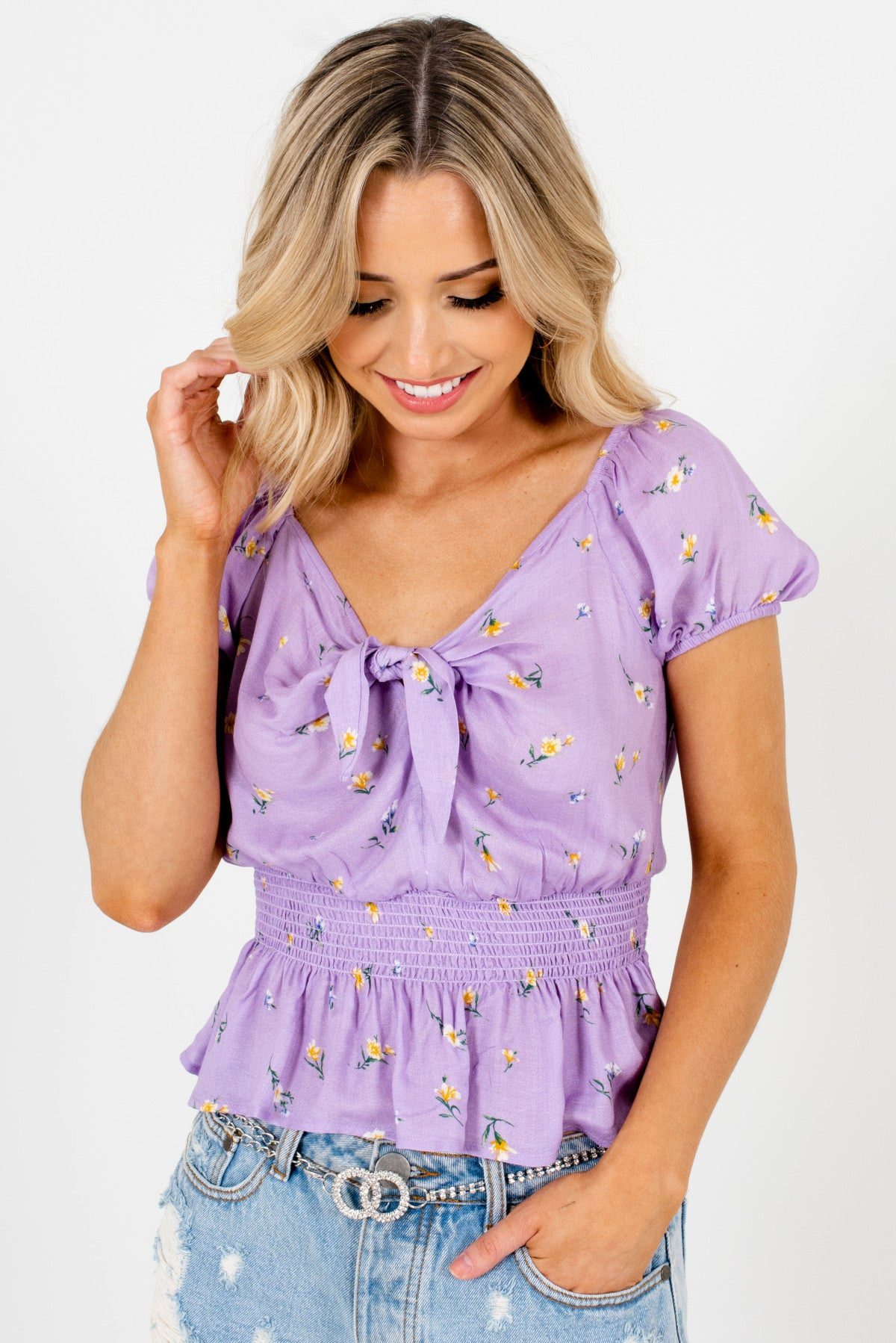 Lilac Purple Floral Peplum Tops with Puff Sleeves and Tie Detail