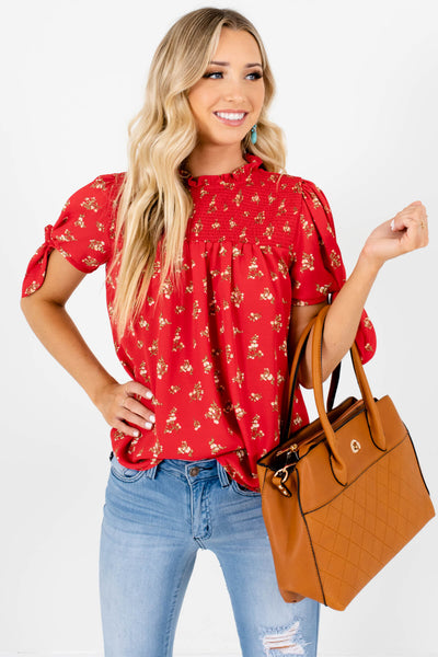 Red Floral Print Smocked Blouses Affordable Online Boutique