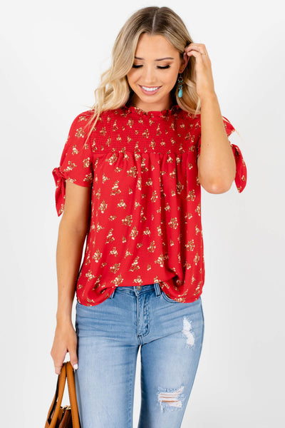 Red Floral Print Self Tie Sleeve Smocked Blouses for Women