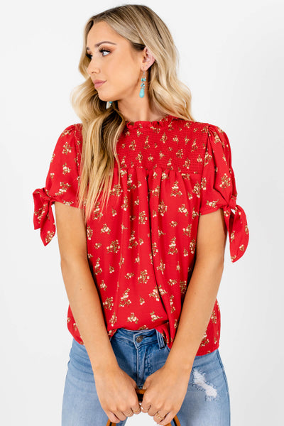 Red Green Yellow Floral Print Smocked Blouses Affordable Online Boutique