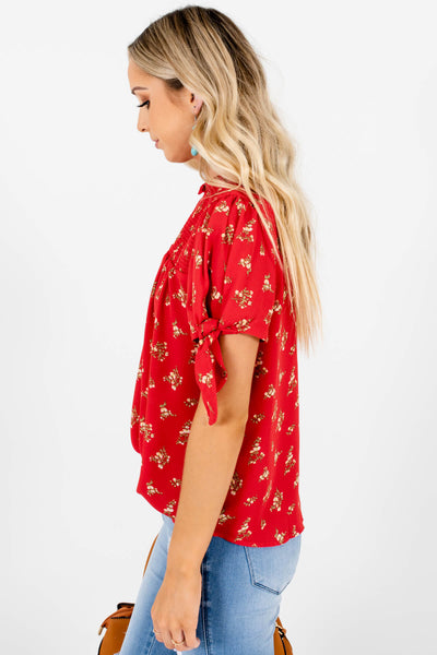 Red Floral Print Smocked Bow Sleeve Tops and Blouses Boutique