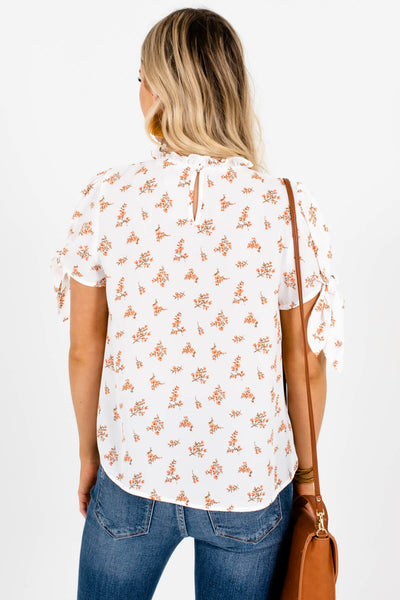 White Orange Brown Floral Print Blouses Affordable Online Boutique
