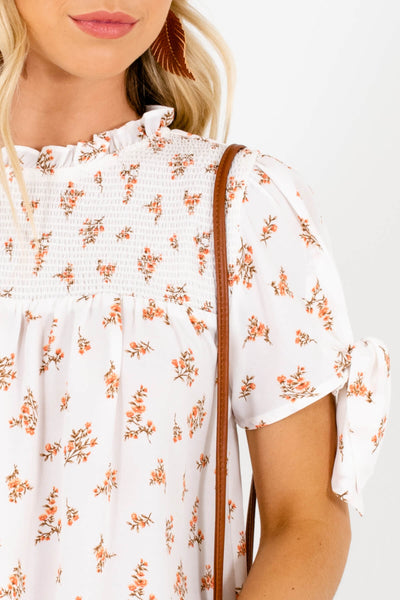White Orange Brown Floral Blouses Affordable Online Boutique