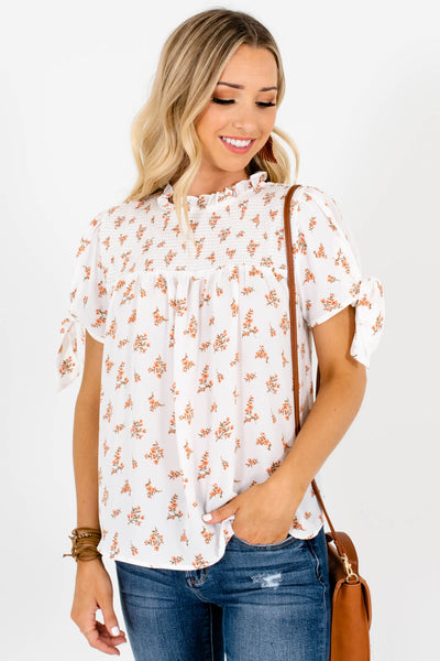 White Floral Print Bow Sleeve Smocked Blouses Affordable Online Boutique
