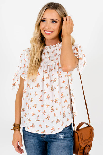 White Floral Print Smocked Tops and Blouses for Women