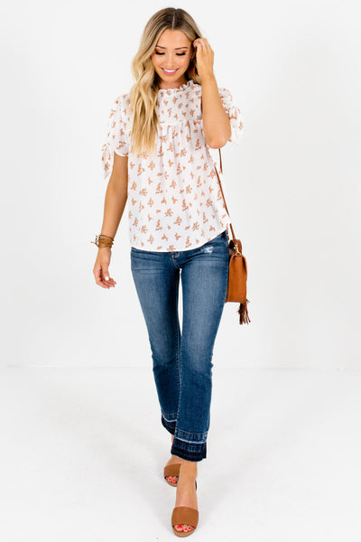 White Floral Print Blouses Affordable Online Boutique Summer