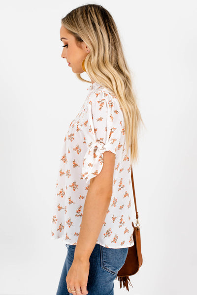 White Floral Bow Sleeve Smocked Blouses for Women