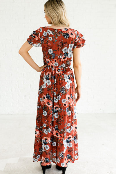 Rust Red Women's Boutique Maxi Length Dress