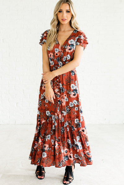 Rust Red Boutique Dress with Brown and Blue Floral Pattern for Women