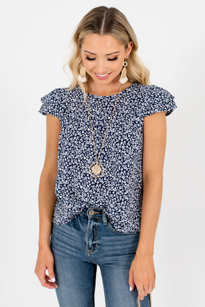 Navy Blue Tie Keyhole Back Boutique Blouses for Women