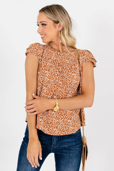 Women's Rust Orange Lightweight High-Quality Material Boutique Blouse