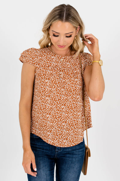 Rust Orange White and Brown Floral Patterned Boutique Blouses for Women