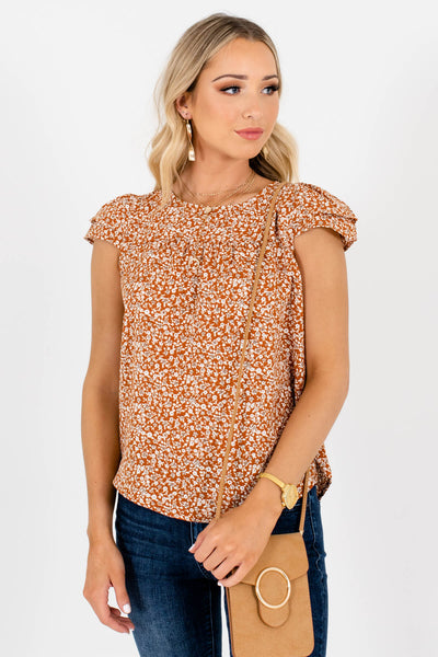 Rust Orange Business Casual Boutique Blouses for Women