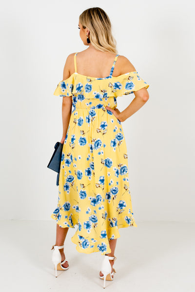 Women's Yellow Floral Patterned Midi Length Boutique Dress