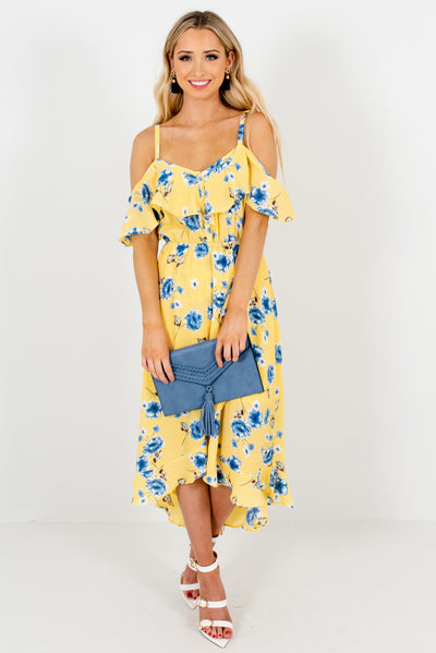 Yellow Cold Shoulder Style Boutique Midi Dresses for Women