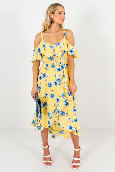 Yellow Button-Up Bodice Boutique Midi Dresses for Women