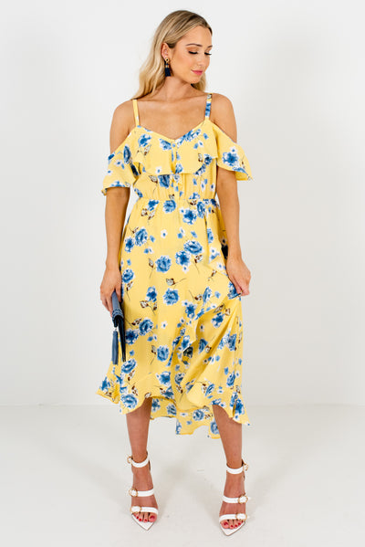 Yellow Cute and Comfortable Floral Boutique Dresses for Women